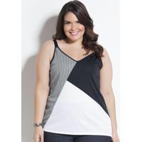 Blusa De Alça Preta, Branca E Listrada Plus Size