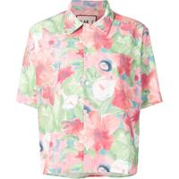 Plan C Watercolour Floral Print Polo Top - Rosa