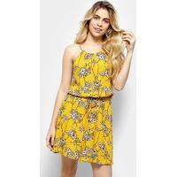 Vestido Estampado Floral Holin Stone Feminina - Feminino-Amarelo