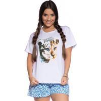 Pijama Short Villa Enzo Doll Feminino - Feminino-Branco