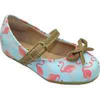 Sapato Boneca Flamingos Laã§O- Azul Claro & Marrom- Lle Cut