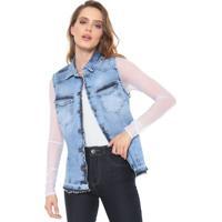 Colete Jeans Carmim Estonada Azul