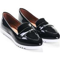 Mocassim Mizzi Shoes Verniz Com Sola Tratorada Feminino - Feminino