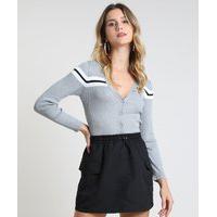 Cardigan Feminino Cropped Em Tricô Cinza Mescla