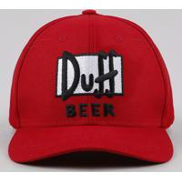 Boné Masculino Aba Curva Duff Beer Os Simpsons Vermelho