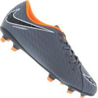 Chuteira De Campo Nike Hypervenom Phantom 3 Club Fg - Adulto - Cinza  Esc Laranja b4a47525d5496