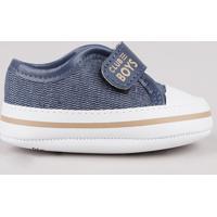 Tênis Jeans Infantil Pimpolho Com Velcro Azul Escuro