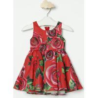 Vestido Floral Acetinado- Vermelho & Rosa- Luluzinhaluluzinha