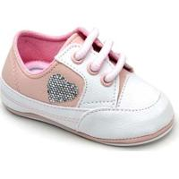 Tênis Top Franca Shoes Infantil - Feminino-Branco+Rosa