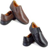 Kit 2 Sapato Conforto Enviamix Social Couro Palmilha Macia Masculino - Masculino-Marrom+Preto