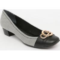 Sapato Em Couro Geométrico- Preto & Branco- Salto: 3Jorge Bischoff