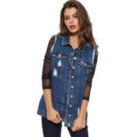 Colete Missbella Longo Com Puídos Jeans
