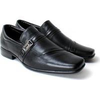 Sapato Social Zanuetto Couro Confort Liso Masculino - Masculino-Preto