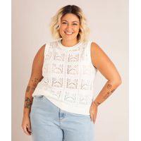 Colete De Crochê Plus Size Decote Redondo Off White