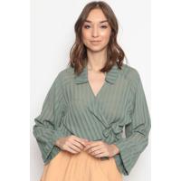Blusa Listrada Com Transpasse- Verde & Verde Militarla Chocolãª