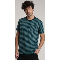 Camiseta Masculina Listrada Com Bolso Manga Curta Gola Careca Verde