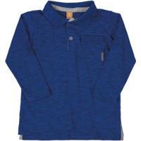 Camisa Polo Manga Longa Getblack Azul