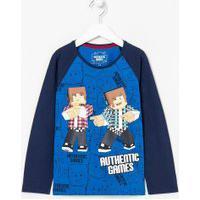 Camiseta Infantil Estampa Authentic Games - Tam 5 A 14 Anos | Authentic Games | Azul | 13-14
