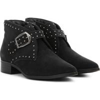 Bota Em Couro Com Fivela & Aviamentos- Preta- Salto:Shoestock