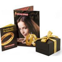 Aliança De Ouro Noivado Abaulada Lisa Com Diamante - As0136 + As0135
