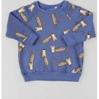 Blusão Infantil Estampado De Tigre Em Moletom Azul