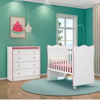 Quarto De Bebê Cômoda 4 Gavetas Doce Sonho E Berço Simples Branco/Rosa - Qmovi