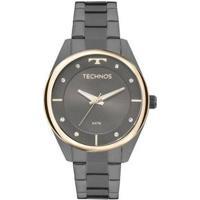 Relógio Feminino Technos Fashion 2035Mld/4P Pulseira Aço Fume - Feminino-Cinza