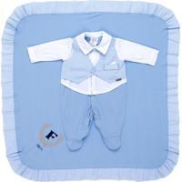 Saída De Maternidade Fofinho Social Gravata Azul Claro