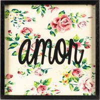 "Quadro Floral ""Amor""- Preto & Rosa- 30X30Cm- Artart Frame"