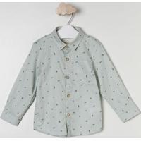Camisa Geométrica Com Bolso- Verde Claro & Azul Marinho