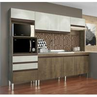 Cozinha Compacta Ariel 10 Portas E 2 Gavetas Casamia Snow Com Dark