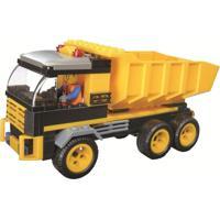Blocos De Encaixe Xalingo Cidade Em Obras Caminhão Caçamba 142 Peças Amarelo - Kanui