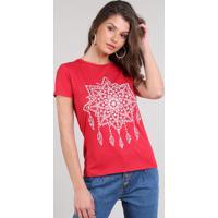 Blusa Feminina Mandala Manga Curta Decote Redondo Vermelha