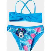 Biquíni Minnie Infantil - Feminino-Azul Turquesa