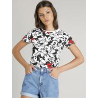 Blusa Feminina Estampada Minnie Mouse Manga Curta Decote Redondo Off White