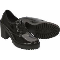 Sapato Oxford Verniz Cr Shoes Salto Bloco Feminino - Feminino-Preto