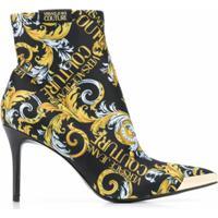 Versace Jeans Couture Bota Meia Com Estampa Barroca - Preto