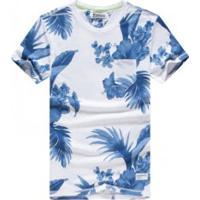 Camiseta Masculina Estampa Summer - Branco E Azul