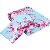 Kit Teka Solteiro Colcha + Porta Travesseiro Estampa Floral
