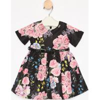 Vestido Floral Com Cinto & ZãPer- Preto & Rosa- Lulumylu