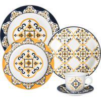 Aparelho De Jantar E Chá Oxford Porcelana Floreal São Luís 30 Pçs Branco/Azul/Amarelo