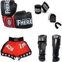 Kit Boxe Muay Thai Luva Bucal Shorts Caneleira Bandagem 08 Oz - Unissex
