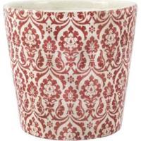 Cachepot Decorativo Ceramica Branco E Vermelho