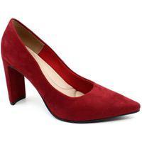 Sapato Scarpin Giovana Pash 412001 Suede Vermelho