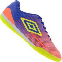 Chuteira Futsal Umbro Speed Sonic Ic - Adulto - Laranja Cla/Azul