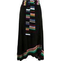 M Missoni Striped Details Knitted Skirt - Preto