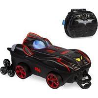 Kit Mochila Batman Chrome Wheels 3D Com Rodinhas+ Lancheira Maxtoy - Masculino-Preto
