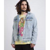 Jaqueta Jeans Unissex Trucker Em Moletom Com Bolsos Azul Claro