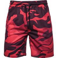 Bermuda Masculina Camuflagem - Vermelho Xgg