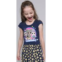 Vestido Infantil Lol Surprise Com Glitter Manga Curta Azul Marinho
